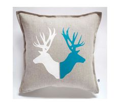 Deer print pillow cover hand painted on gray linen - pillow case housewarming or birthday gift cushion - spring pillows collection