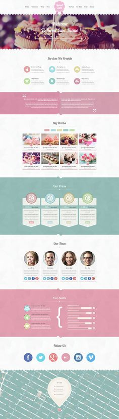 Sweet Cake is a one page PSD theme for your business. The graphic is very sweet and creative, is ideal for bakeries, ice cream shops, restaurants and cake designers but if you want you can change the colors to adapt the theme for all activities. In the pa…