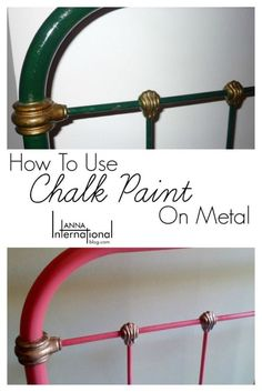 How to use Chalk Paint on Metal Antique French Cast Iron Bed Makeover Anna International is part of Metallic painted furniture - A simple tutorial on using chalk paint on metal to makeover an antique French cast iron bed using Annie Sloan chalk paint Antique Iron Beds, Wrought Iron Beds, Using Chalk Paint, Chalk Paint Projects, Chalk Painting, Painting Doors, Paint Ideas, Metallic Painted Furniture, Chalk Paint Furniture