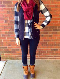 maroon scarf, plaid, vest & bean boots