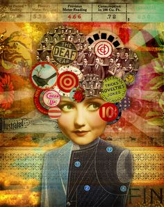 Noises in my Head     copyright by Marsha Jorgensen 1/27/2012. All rights reserved.    Digital collage. Image credits: everything from my own personal stash and Tumble Fish Studio image kits  available at deviantscrap.com.