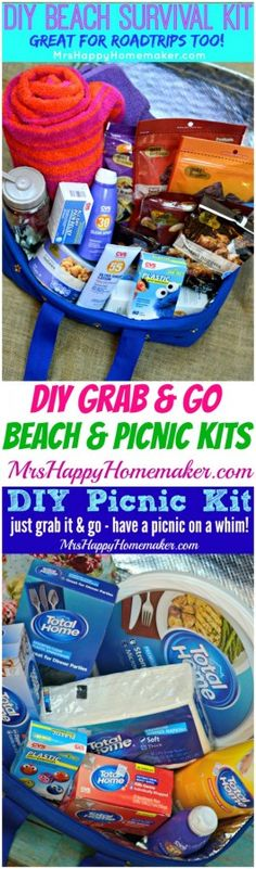 Planning a beach trip or waterpark adventure? Wanna take an impromptu picnic? Heading on a road trip? These easy DIY Summer Survival Kits are for you! There is a #GIVEAWAY on this post too to win some of my favorite summer essentials! | MrsHappyHomemaker.com @thathousewife