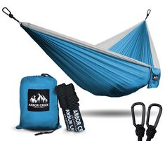 Best Double Camping Hammock by Arbor Creek Outfitters - Extremely Durable and Lightweight Nylon Fabric - Upgraded Aluminum Carabiners w/ Tree Friendly Straps – Holds 500 lbs! (Baby Blue / White)