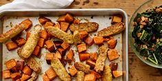 Kale-Almond Salad With Sheet Pan Maple Tempeh and Sweet Potatoes