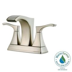 Pfister Venturi 4 in. Centerset 2-Handle Bathroom Faucet in Brushed Nickel - LF-048-VNKK - The Home Depot