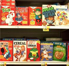 Ron English created a series of parody cereal boxes that were covertly placed on shelves at a Ralph's in Venice, CA.