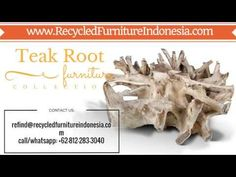 We are exporter and manufacturer of teak root garden furniture in Jepara, Indonesia. Our product range are: teak root bench, teak root chair, teak root stool. Garden Furniture, Outdoor Furniture, Reclaimed Wood Furniture, Wooden Art, Teak, Youtube, Outdoor Garden Furniture, Wood Art, Yard Furniture