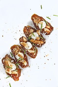 Smoked dates stuffed with goat cheese + pecans