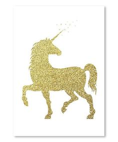 Americanflat Peach & Gold Unicorn Graphic Art in Gold Glitter Size: Unicorn Painting, Unicorn Wall Art, Unicorn Bedroom, Unicorn Poster, Unicorn Print, Framed Wall Art, Frames On Wall, Framed Prints, Wall Decal