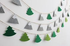 Felt Mountain Garland Mountains and Pine Trees Garland Scandinavian Nursery Banner Mountain Bunting Décor, Christmas Grey Green Felt Garland