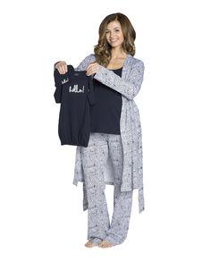 Harper Maternity/Nursing PJ'S,Robe & Navy Baby Receiving Gown Set