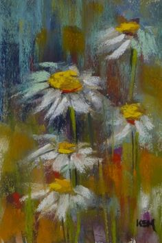 Demo Monday ...Painting Daisies in Pastel, painting by artist Karen Margulis