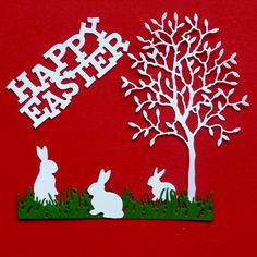 Grand Alder tree Rabbits, grass strip and Happy Easter sentiments.
