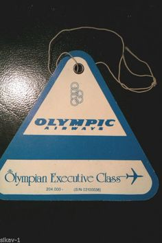 1990s Olympic Airways Olympian Executive Business Class Hand Luggage Tag