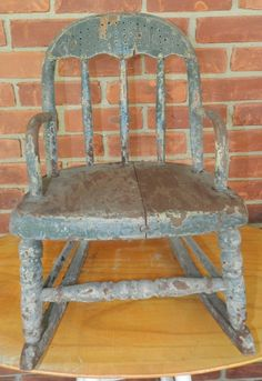 Antique Bent Wood Childs Doll Rocking Chair with Old Red Blue Green Paint | eBay