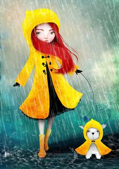 """""""Friday Afternoon"""" - Little Redhead Girl and White Puppy Dog in the Rain."""