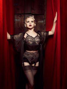 Black Lace Long Line Bra Chantilly & Silk Soft Cup Camisole Vintage Style. $225.00, via Etsy.