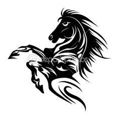 Horse tattoo symbol for design isolated on white emblem or logo template. — Ilustracja stockowa #29300817