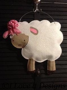 Lamb Burlap Door Hanger by ILoveItDesigns on Etsy, $35.00
