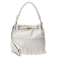 Mellow World Lorraine Fringe Bucket Bag, Women's, White