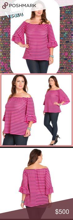 ✨COMING SOON!✨Pink/Black Open Shoulder Plus Top✨ 🆕Gorgeous Pink/Black Striped Open Shoulder Top featuring bell sleeves and a relaxed fit. Very flattering to the midriff and arms🌺Made in USA🇺🇸95% Poly 5% Spandex🔹NO TRADES🔹PRICE WILL BE FIRM UNLESS BUNDLED🔹💟20% OFF BUNDLES💟**Like this Listing to be notified of Arrival** The Blossom Apparel Tops Blouses