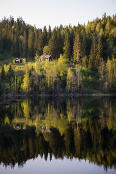 cabin in the woods reflection (by Fredrik Skjellum)