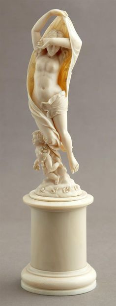 Continental Carved African Ivory Figure, 19th c., of Venus a