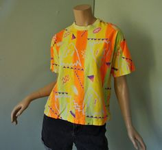 Abstract Neon Tshirt 1990's in Orange & Yellow by ReluctantDamsel, $12.00 /// www.art-by-ken.com