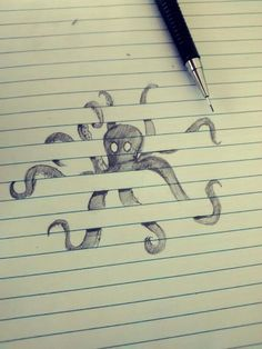 draw an octopus shaped in the notebook