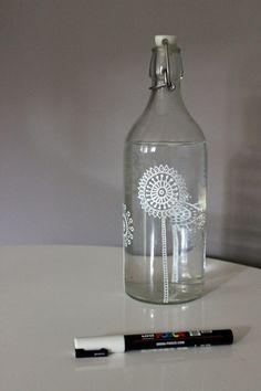 bouteille verre customisée au posca1