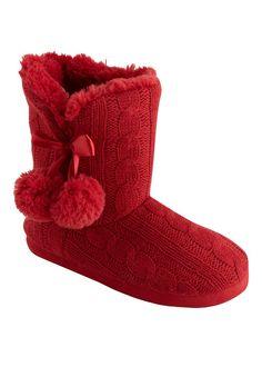 2cb285bb1 Matalan - Cable Knitted Pom Pom Slipper Boots...need!  #matalanladiesslippers Matalan