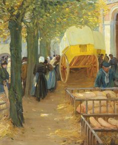 Helen McNicoll, Market in Brittany, c. 1913, oil on canvas, 81.3 x 66 cm, private collection. #ArtCanInstitute #CanadianArt