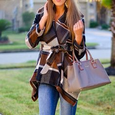 Plaid wrap coat