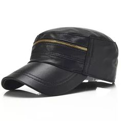 e752d3e2a39 Men Sheepskin Genuine Leather Flat Cap Casual Outdoor Visor Hats Solid  Adjustable Fashion Army Hats is hot sale on Newchic Mobile.