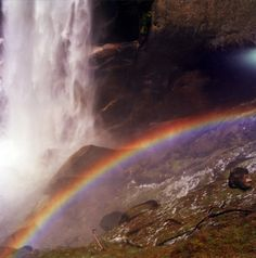 rainbow and waterfall Over The Rainbow, Brighten Your Day, Greek Mythology, Holy Spirit, Rainbow Colors, Paths, Northern Lights, Natural Colors, Waterfalls