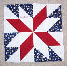 Care Bear Design: The Patriotic Family Quilt - Pigs in a Blanket Star Quilt Blocks, Star Quilts, Scrappy Quilts, Blue Quilts, Scrap Quilt Patterns, Pattern Blocks, Half Square Triangle Quilts, Square Quilt, Painted Barn Quilts