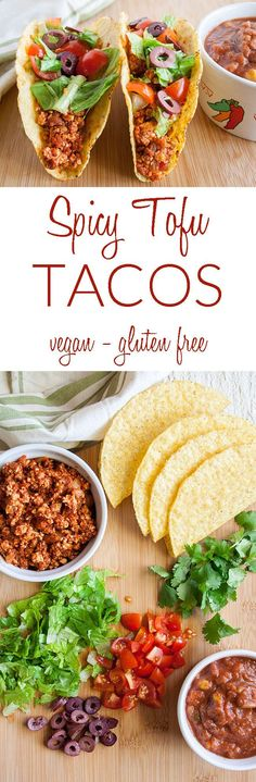 Spicy Tofu Tacos (vegan, gluten free) - These healthy tacos have a spicy crumbled tofu filling in a crunchy taco shell with all your favorite toppings. Vegan Mexican Recipes, Vegan Dinner Recipes, Tofu Recipes, Vegan Dinners, Appetizer Recipes, Whole Food Recipes, Breakfast Recipes, Vegetarian Recipes, Healthy Recipes