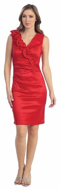 Tight Fit Red Cocktail Dress Wide Straps Knee Length V Neckline $78.99