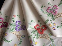 GORGEOUS VINTAGE LINEN HAND EMBROIDERED TABLECLOTH ~ RAISED FLORALS