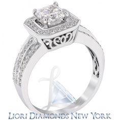 1.87 Carat D-VS1 Radiant Cut Natural Diamond Engagement Ring 14K Vintage Style - Pave Halo Engagement Rings - Engagement - Lioridiamonds.com