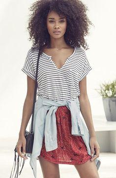 Stem Tee, Treasure&Bond Shirt and Hinge Skirt | Nordstrom