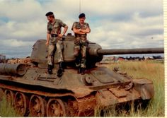 Rhodesian soldiers with a captured ZIPRA T34