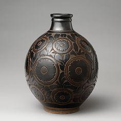 Vase  Designer:Emile Lenoble (French, Paris 1875–1939 Choisy le Roi) Date:1925 Culture:French Medium:Glazed stoneware Dimensions:Height 12 1/2 in. (31.8cm), diameter 9 1/2 in. (24.1 cm) Classification:Ceramics-Pottery