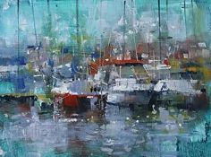 Pointe Claire Harbour by artist Mark Lague. #painting found on the FASO Daily Art Show - http://dailyartshow.faso.com