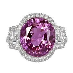 No Heat Pink Sapphire and Diamond Ring | From a unique collection of vintage three-stone rings at https://www.1stdibs.com/jewelry/rings/three-stone-rings/