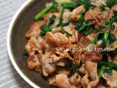 カリカリ豚と春菊のおかか炒めの画像