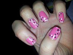 black and white polka dot pink nails