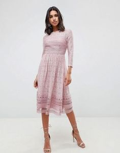 ASOS DESIGN lace midi skater dress Modest Dresses 710a8f02f