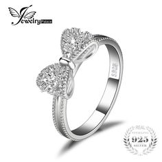 JewelryPalace Bow Anniversary Wedding Ring For Women Solid Sterling Silver Jewelry For Girl Party Friend Gift Diamond Cluster Engagement Ring, Engagement Ring Settings, Vintage Engagement Rings, Rings For Girls, Wedding Rings For Women, Wedding Anniversary Rings, Delicate Rings, Sterling Silver Jewelry, Silver Rings
