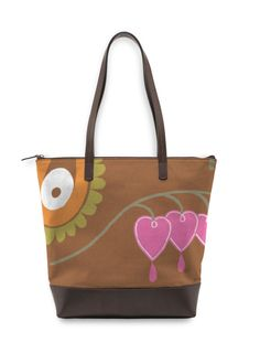 Statement Bag - Bleeding Hearts in Brown/Orange/Pink by VIDA Original Artist Green Handbag, Green Bag, Bleeding Hearts, Striped Bags, Candy Stripes, Line Patterns, Blue Abstract, Blue Bags